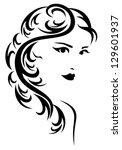 raster   elegant hairstyle... | Shutterstock . vector #129601937
