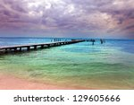 pier in the sea - stock photo