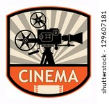 Cinema label, vector illustration - stock vector