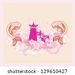 japanese koi and ancient... | Shutterstock .eps vector #129610427