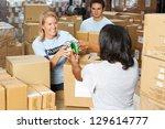 volunteers collecting food... | Shutterstock . vector #129614777