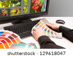 graphic designer at work. color ... | Shutterstock . vector #129618047