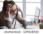 hard working woman with office... | Shutterstock . vector #129618533