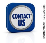 one icon with text: contact us (3d render) - stock photo