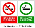 No smoking and Smoking area labels - Set 13, vector illustration - stock vector