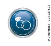 wedding rings icon on the blue... | Shutterstock .eps vector #129637673