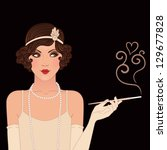 Flapper girls set: young beautiful woman of 1920s. Vintage style vector illustration. Black background. - stock vector