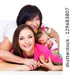 happy young woman  her mother... | Shutterstock . vector #129683807