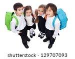 happy school kids with back... | Shutterstock . vector #129707093