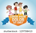 template with a cute happy... | Shutterstock .eps vector #129708413