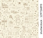 paris travel seamless pattern ... | Shutterstock .eps vector #129726893