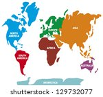 world map with continents  | Shutterstock .eps vector #129732077