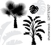 palm trees black silhouettes on ... | Shutterstock .eps vector #129737027