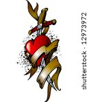 colored heart tattoo | Shutterstock .eps vector #12973972