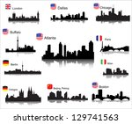 Stock vector detailed vector silhouettes of world cities 129741563
