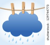 white paper cloud hanging by... | Shutterstock .eps vector #129744773