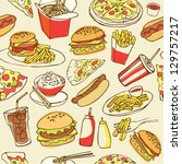 fast food seamless background | Shutterstock .eps vector #129757217