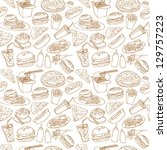 fast food seamless background   Shutterstock .eps vector #129757223