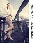 beautiful model posing outdoor... | Shutterstock . vector #129763703