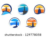 Colorful lighthouse symbols set isolated on white background for any navigation concept or logo template. Jpeg version also available in gallery - stock vector