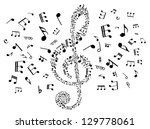 Musical clef with notes elements for art background design. Jpeg version also available in gallery - stock vector