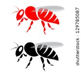 Vector image of an bee on white background - stock vector