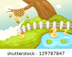 illustration of landscape cute... | Shutterstock . vector #129787847
