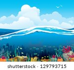 Nature vector seascape with underwater creatures and blue cloudy sky over surface - stock vector