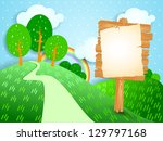 Fantasy landscape with wooden signboard, vector - stock vector