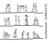cartoon hand drawn love... | Shutterstock .eps vector #129810173