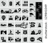 Road traffic info graphic icons - stock vector