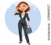 elegant business woman speaking ... | Shutterstock .eps vector #129849017