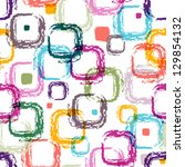 Seamless white pattern with colorful translucent uneven rectangles - stock photo