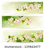 three spring banners with... | Shutterstock . vector #129863477