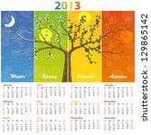 Calendar for 2013 seasons - stock vector
