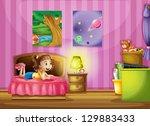 illustration of a little girl... | Shutterstock . vector #129883433