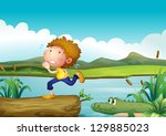 illustration of a scared boy... | Shutterstock . vector #129885023