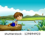 illustration of a young boy... | Shutterstock . vector #129894923