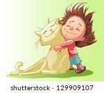 little girl hugging big cat | Shutterstock .eps vector #129909107