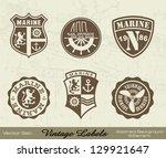 vintage labels set  marine... | Shutterstock .eps vector #129921647