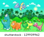Funny dinosaurs in the forest. Cartoon and vector illustration - stock vector