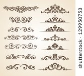 set of vintage ornaments with... | Shutterstock .eps vector #129950753