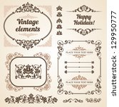 set of vintage ornate frames... | Shutterstock .eps vector #129950777