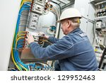 one electrician at work with... | Shutterstock . vector #129952463