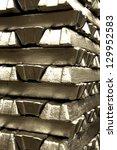 stack of aluminum ingot... | Shutterstock . vector #129952583