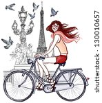 Vector illustration of a woman riding a bicycle  in Paris