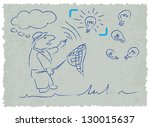 business man catching an idea... | Shutterstock .eps vector #130015637
