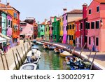 Colorful canal scene in Burano, Venice, Italy - stock photo