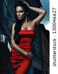 hot woman in red dress in the... | Shutterstock . vector #130046627