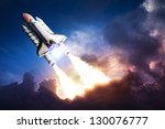 Space Shuttle Taking Off On A...